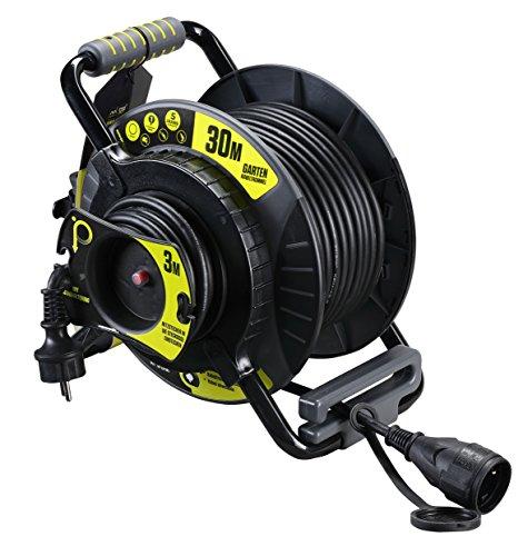 Masterplug Pro-XT Reverse -Kabeltrommel mit einer wetterfesten Schukoverlängerung, 30 + 3 Meter Gummikabel
