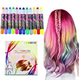 Buluri Haarkreide 12 Farbe Haare Kreide Stifte Temporäre Haarfarbe für Mädchen, Perfektes...