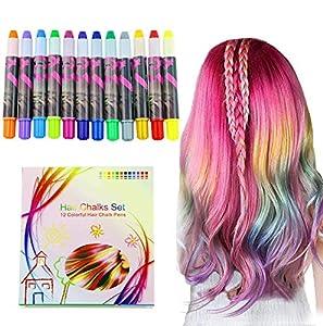 halloween Buluri 12 colores Set de tiza para el cabello,Tinte para el cabello plumas de tiza profesionales para el cabello, plumas de tinte para el cabello - Funciona en todos los colores del cabello