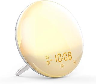 YABAE 目覚まし時計 光 自然音 大音量 目覚ましライト デジタル スヌーズ&ラジオ機能付き クロックラジオ ダブル アラーム 白 MY-11