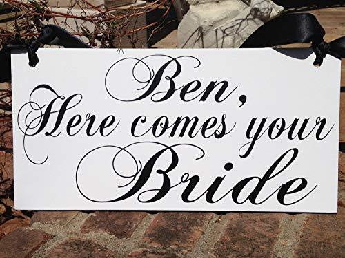 Ced454sy Bruiloft teken Oom teken Hout teken Personaliseren bruiloft Mr en Mrs Ring Bearer teken Hier komen de Bruid Liefde van je Leven Bruid