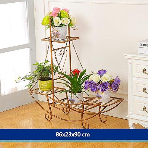 XIAOLIN- fer racks de fleurs atterrissage formule Des couches multiples Rack pot de fleur style européen mode Modèles racks de fleurs salle de séjour balcon Intérieur et extérieur étagère Fleur --Cadre de finition de fleurs ( Couleur : 4 , taille : 86*23*90cm )