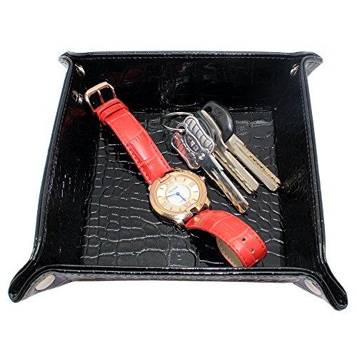 boshiho Valet Tablett für Herren,Leder Schmuck Catchall Schlüssel Handy Münzbox Kleingeld Caddy Nachttisch Aufbewahrungsbox