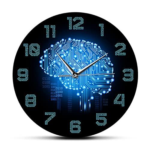 Reloj de Pared Código Binario Inteligencia artística Reloj de Pared Cerebral Movimiento silencioso Reloj de Pared Empresa Decoración de Oficina Tablero de circuitos del Cerebro Arte para Geeks