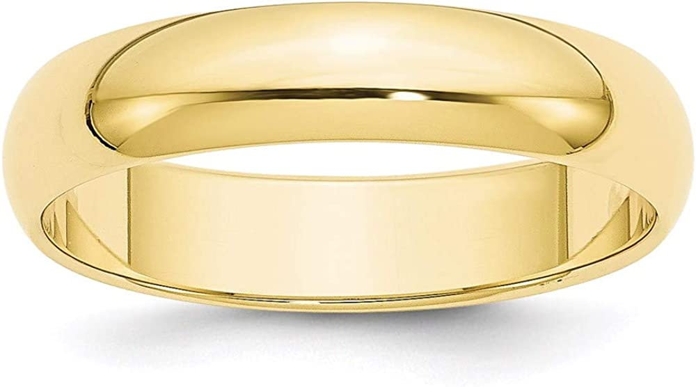 10k Yellow Gold 5mm Half Round Wedding Ring Band Size 10 Classic Fine Jewelry For Women Gifts For Her