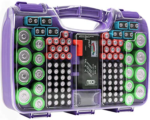 The Battery Organizer Storage Case with Hinged Clear Cover, Includes a Removable Battery Tester, Holds 180 Batteries Various Sizes Purple… (TBO2712)