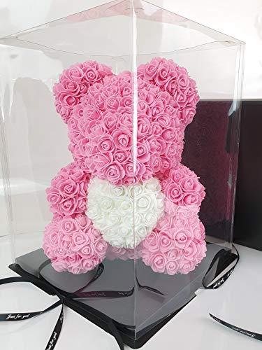 Blumenhandel Nadir Gezer 40cm Rosane künstliche Rosenbären mit weißem Herz 40cm inklusive Geschenkbox - Rose Bear with Heart 40 cm incl. giftbox - Flower Teddy Muttertag (Pink)