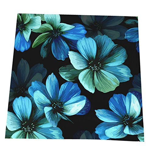 Ye Hua Mystical Beautiful Blue Flowers Tischset, Crossweave Black Vinyl rutschfeste Isolierung Tischset Waschbare Tischsets 4er-Set