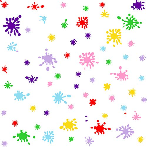 PaintSplatterWallDecalsPaintSplatterFabricColorful WallDecalsRainbowColorHomeDécor,Self-AdhesivePeelandStickRemovableWallDecal