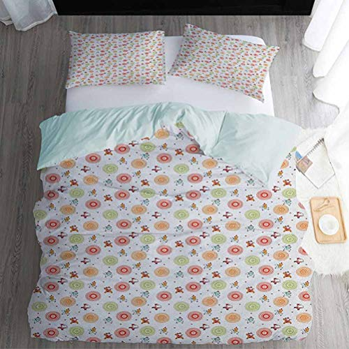 3pc Duvet Cover Set Full Size, Christmas Duvet Cover Sets - Colorful Reindeer Riding Santa Bears with Snowflake Motifs in Bullseye Circles, Multicolor