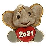 THUN - Soprammobile Elefante Capodanno Buon 2021 - Accessori per la Casa da Collezionare - Formato Piccolo - Ceramica - 8 x 5,8 x 7 h cm
