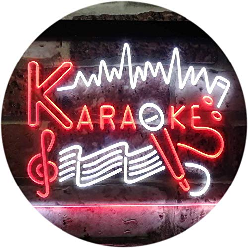 ADV PRO Karaoke Lounge Bar Club Home Music Dual Color LED Enseigne Lumineuse Neon Sign Blanc et Rouge 300 x 210mm st6s32-i3156-wr