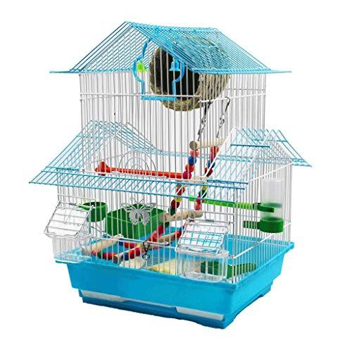Cages à Oiseaux Cage à Oiseaux de Toit sur Trois Niveaux de 48 cm de Hauteur pour Perroquet Petits Oiseaux avec bac Coulissant 1 Fontaine d'eau Potable et 2 gobelets