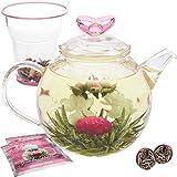 Tetera de Teabloom Amor Eterno - Tetera de vidrio de 1000 ml, tapa con forma de corazón, infusor de té de vidrio para hojas sueltas y 2 tés en flor - Resistente a los golpes térmicos