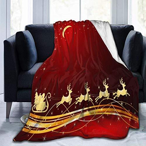 Blanket Feliz Navidad Trineo De Ciervos Papá Noel para Todas Las Estaciones En Casa Cálida Y Suave Manta De Franela Manta De Lana Especial Sofá Cama 102X127Cm Silla Acogedora Lige