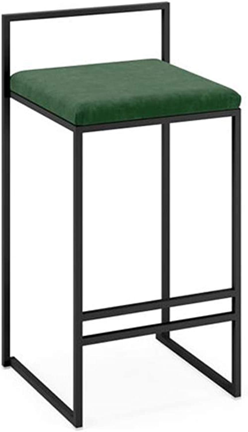 Dining Chair   Full Backed Black Metal Bar Stools, Green Flannel Cushion Seat Barstool for Kitchen   Pub   Café Bar Counter Stool Max. Load 440Lb