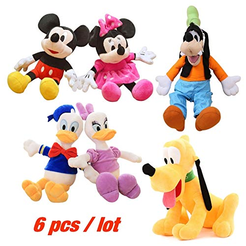 Juguete de Peluche 6pcs / Lot 30cm Mickey Y Minnie Mouse, Donald Duck and Daisy, Goofy Dog, Pluto Dog Cartoon Figure Plush