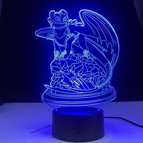 So trainieren Sie Ihren Drachen Anime Charakter 3d Tischlampe Nachtlicht LED Nachtlicht Dekoration Geschenk