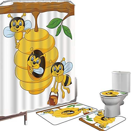 Duschvorhang Set Badezimmerzubehör Teppich Kindergarten Badematte Contour Teppich Teppichbezug Niederlassung des Baums mit Bienenstock & Bienen Honey Funny Insect Hardworking Mascot Decorative,Gelbb