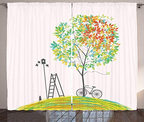 """Preisvergleich Produktbild MSGDF City Park Trees Curtains,  Bicycle Stairs Bird Nest Silhouette Print,  Living Room Bedroom Window Drapes 2 Panel Set,  Sea Green Pale Vermilion Pale Teal and Grey, Size:110"""" W X 63"""" L"""