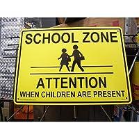 プラスチック看板 『SCHOOL ZONE ATTENTION/スクールゾーン』 CA-41 ガレージ雑貨 アメリカン雑貨