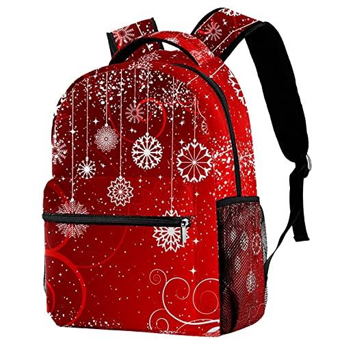 Mochila roja de Navidad para invierno, diseño de copos de nieve abstractos, mochila de viaje, casual, para mujeres, adolescentes, niñas y niños