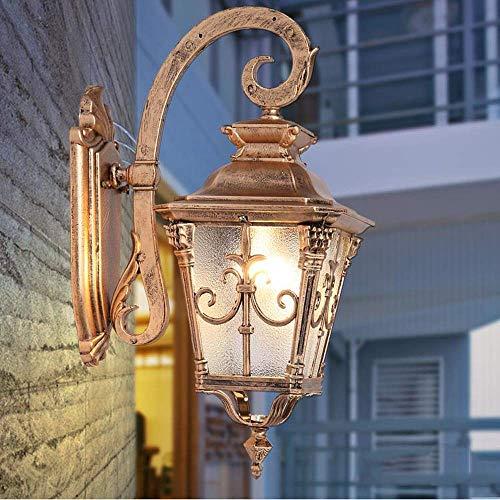 Aplique al aire libre Lámpara de pared vintage Europeo Creativo Al aire libre Impermeable IP54 Villa Balcón Linternas de pared Terraza Poste de puerta Patio Aplique de pared de aluminio americano E27