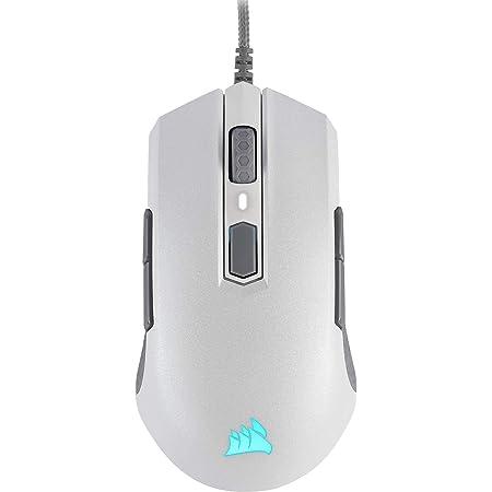 Corsair M55 PRO RGB - Ratón Óptico Ambidiestro para Juegos (12.400 PPP, Sensor Óptico, Ligero, 8 Botones Programables, Retroiluminación LED RGB) Blanco