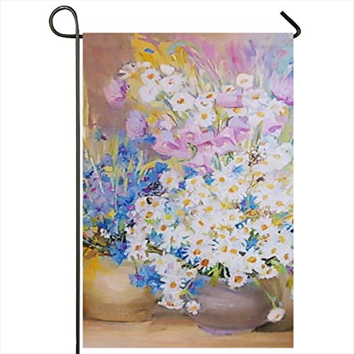 Onete Garden Flag 12x18 Inches Colorful Apples Drawing Oil Flowers Still Life Painting Daffodils Nature Drown Green Artist Basket Outdoor Seasonal Home Decor Welcome House Yard Banner Sign Flags