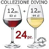 Collezione DIVINO Bormioli Rocco - Set 24 Calici Vino - N° 12 Divino Rosso 53 cl + N° 12...