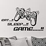 Adhesivo mural de vinilo para pared con texto en inglés 'Eat Sleep Game Joystick' para guardería, niños, jugadores, arte adolescente, videojuegos, sala de juegos, murales, decoración divertida
