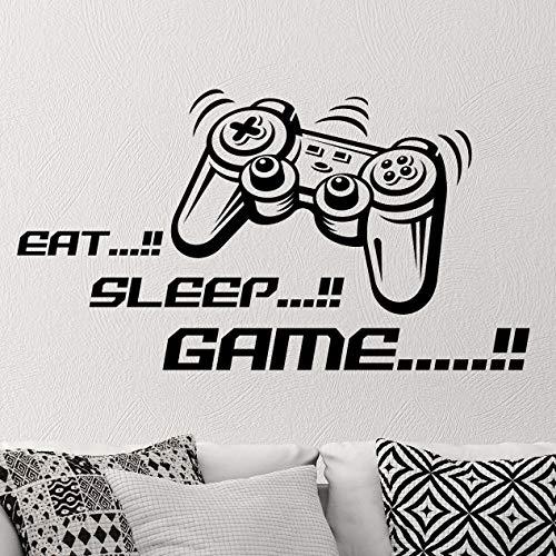 """Wandtattoo mit Joystick-Motiv """"Eat Sleep Game"""", Vinyl, für Kinderzimmer, Spieler, Kunst, Jugendliche, Videospiel, Wandbild, Kinderzimmer, Jungen, Gaming-Controller"""
