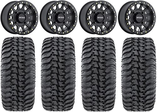 Bundle - 9 Items: Method 401 14' Beadlock Black (4+3) Wheels 30' Regulator Tires [4x156 Bolt Pattern 12mmx1.5 Lug Kit]