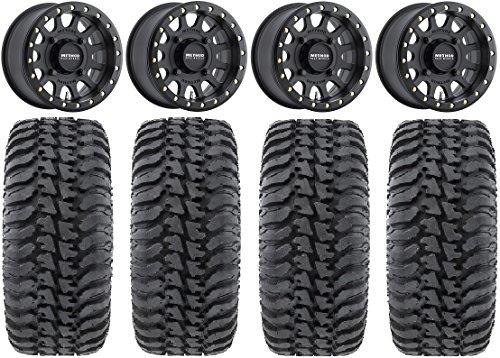 Bundle - 9 Items: Method 401 14' Beadlock Black (4+3) Wheels 30' Regulator Tires [4x137 Bolt Pattern 10mmx1.25 Lug Kit]