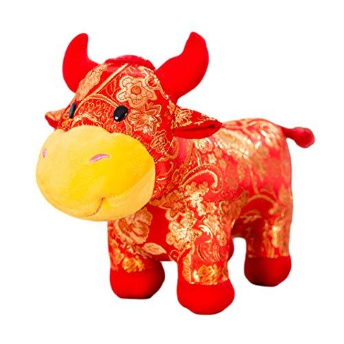 Opfury Maskottchen Rinderpuppe, Fortune Maskottchen Rinder Gefüllte Puppe Ornamente, 2021 Chinese Ox New Year Zodiac Blessing Souvenir Geschenk