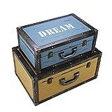 MAATCHH- Maleta Vintage de Viaje Conjunto de 2 baúles de la Marina de Guerra de Almacenamiento Retro Caja de la Maleta de la Ventana de visualización Adornos de decoración Decoración, for el hogar