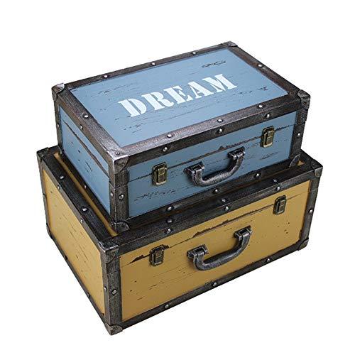 Maletas de almacenamiento vintage Conjunto de 2 baúles de la marina de guerra de almacenamiento retro caja de la maleta...