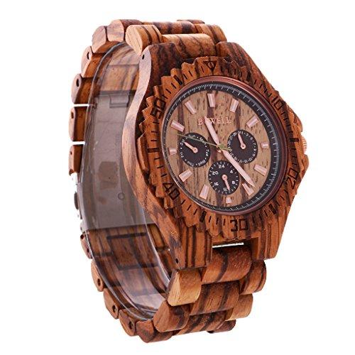 Generic Holzquarz Herrenuhren Lässige Holzbanduhr Armbanduhr mit Datum Tag
