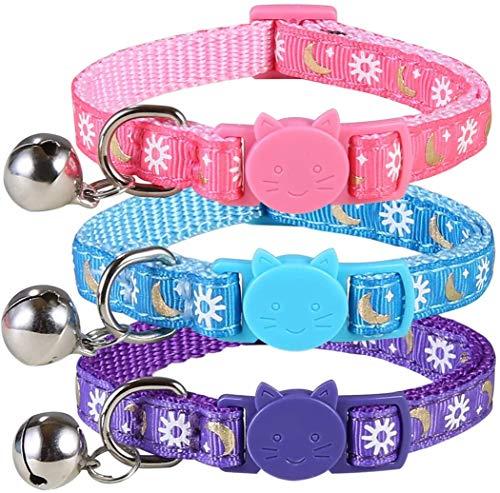 SLSON 3 Stück Katzenhalsband, 7CM-11CM Verstellbares Halsband mit Sicherheitsschnalle für Welpenkatze, Anti-Strangulations-Halsband mit Glocke und Sonnenmond, Pink + Blau + Lila