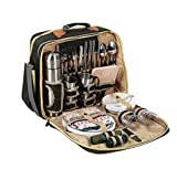 LHY TRAVEL Große Picknickkühltasche, Kühlfach, 4 Personen Picknick-Rucksack mit komplettem Picknick-Set inkl. Teller, Besteck, Weingläsern, Kühltaschen und Weinkühler,C