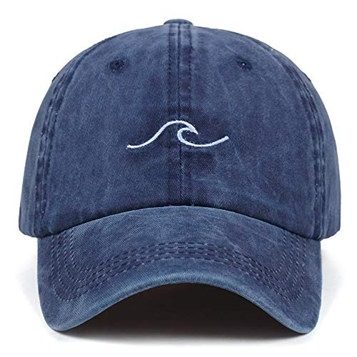 Sombrero Washed Wave Dad Hat for Mujer Bordado de algodón línea Ondulada Gorra de béisbol Hombres Hip Hop Cap Snapback Hat Sea Sports Cap Bone Garros (Color : Navy Blue)