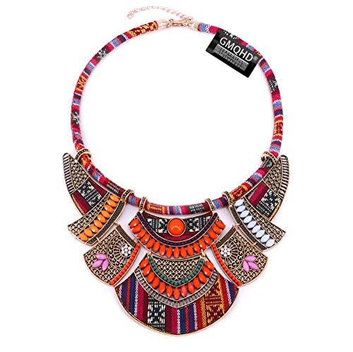 GMQHD Chunky Bib Statement Gargantilla de torsión Bohemia India Africana Egipto Cierre magnético Multicapa Tribal Collares Juego de joyería de Moda para Mujeres y niñas.