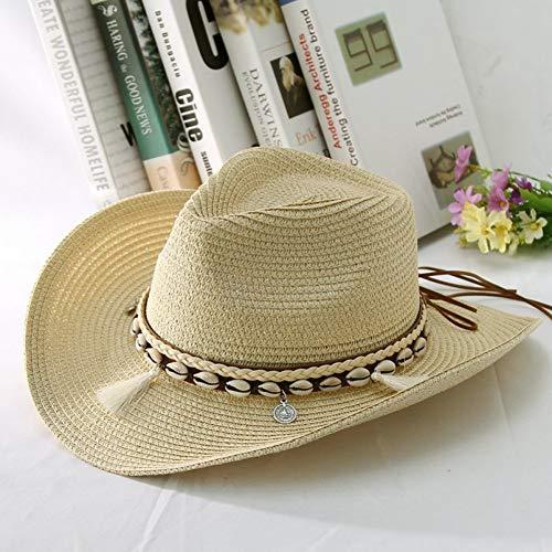 CHENGWJ strohoed mannen Shell kwasten Cowgirl zomerhoed strohoed voor vrouwen mannen Western Cowboyhoed Lady Trendy Woven Sun Hat Beach Cap