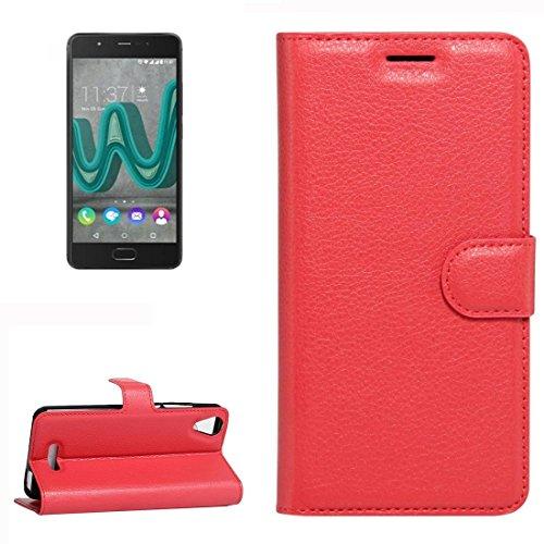 YUCPING Handyhülle Litchi Texture Horizontal Riff Ledertasche Mit Halter und Card Slots und Geldbörse for Wiko U Feel Go (Color : Red)