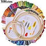 AllRing Set de bordado, kit de iniciación de punto de cruz, incluye 100 hilos de colores, 5 marcos de bambú, 12 de 18 pulgadas 14 Count Classic Reserve Aida y agujas