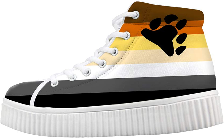 Owaheson Platform Lace up Sneaker Casual Chunky Walking shoes High Top Women Bear Bredherhood Pride Flag