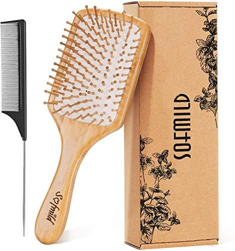 Hair Brush, Eco-Friendly Natural Wooden Bamboo Paddle Hairbrush for Long...