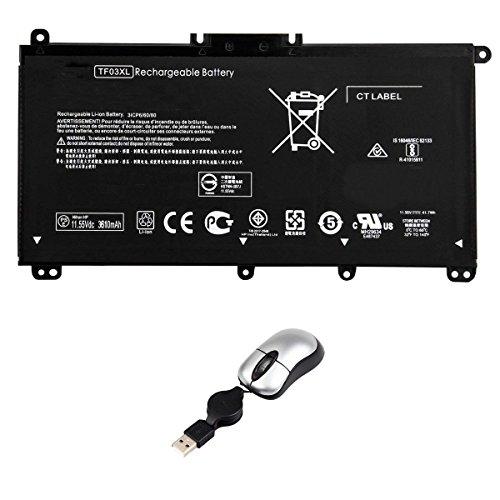 amsahr TF03XL-05 vervangende batterij voor HP TF03XL, HSTNN-LB7X, inclusief mini optische muis zwart