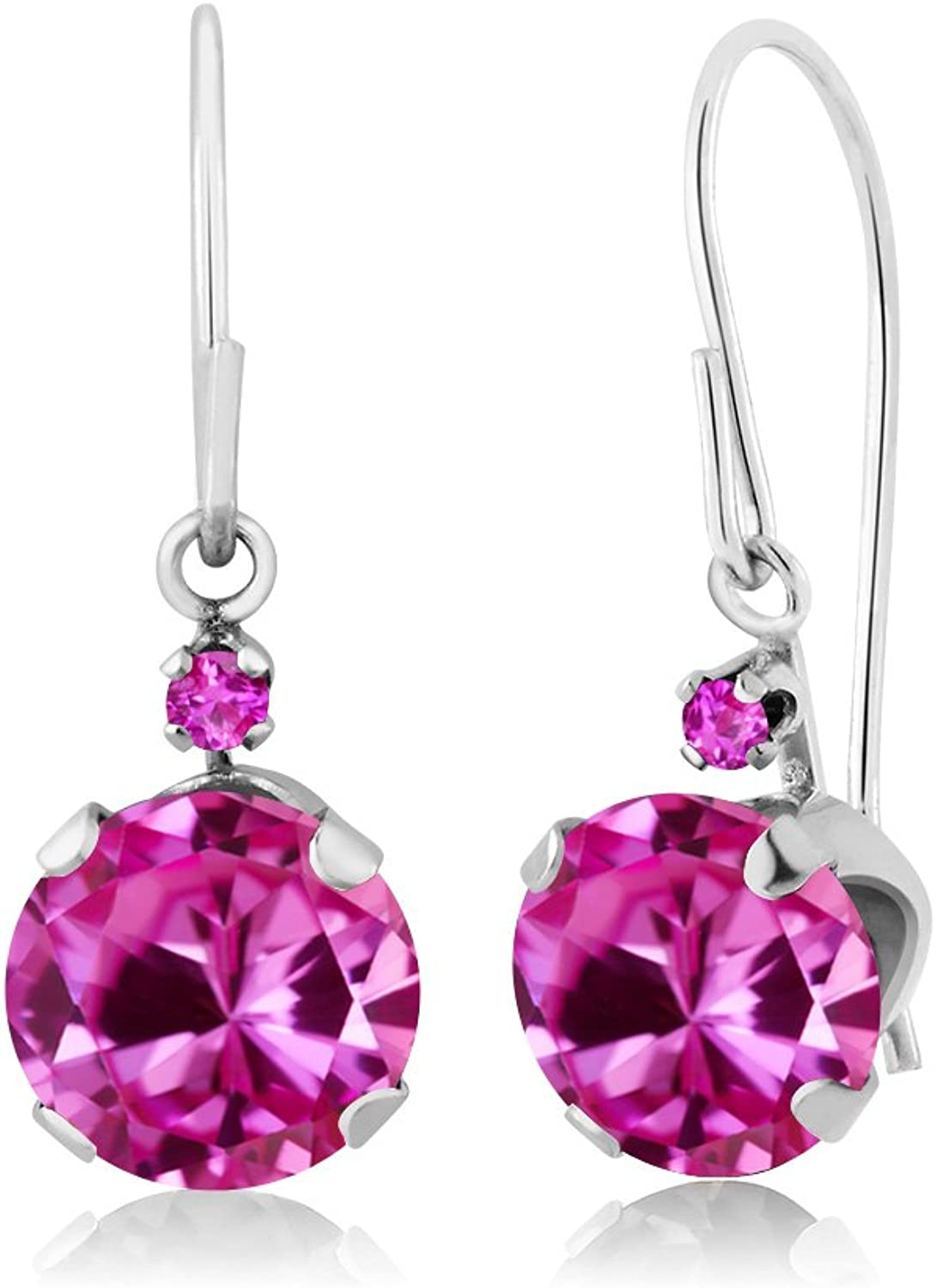2.04 Ct Round Pink Created Sapphire Pink Sapphire 14K White gold Earrings