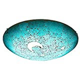 SUSUO Mosaic Design Blue Stained Glass Flush Mount Ceiling Light with Moon and Star Pattern Vingte Art Deco Ceiling Fixture for Bedroom Living Room Hallway Kitchen Bar